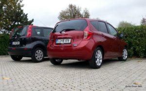 Primerjava zadka vozila med starim in novim Nissanom Note.