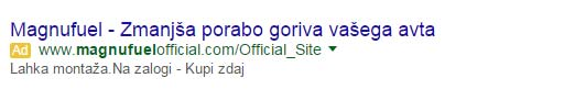 Primer takšnega oglasa v brskalniku Google