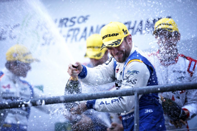 36 MENEZES Gustavo (usa) LAPIERRE Nicolas (fra) RICHELMI Stéphane (mon) Alpine A460 Nissan team Signatech Alpine podium  during the 2016 FIA WEC World Endurance Championship, 6 Hours of Spa from May 4 to 7  2016, at Spa Francorchamps, Belgium - Photo Clement Marin / DPPI