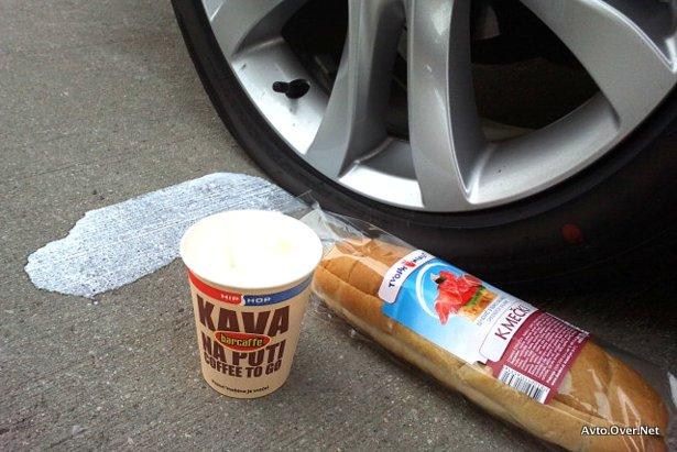 mazda6, predrta guma in kava na poti - petrol 2013